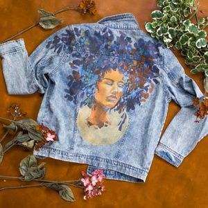 Hand Painted Power Stonewashed Jean Jacket Vintage